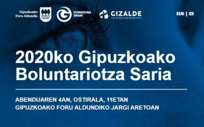 Begisare ha recibido el Premio del Voluntariado de Gipuzkoa 2020. Puedes ver el vídeo del acto de entrega.