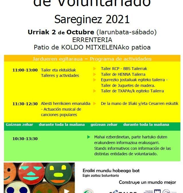 Boluntariotza Entitateen Azoka, Sareginez 2021, ospatuzen urriaren 2an Errenterian.